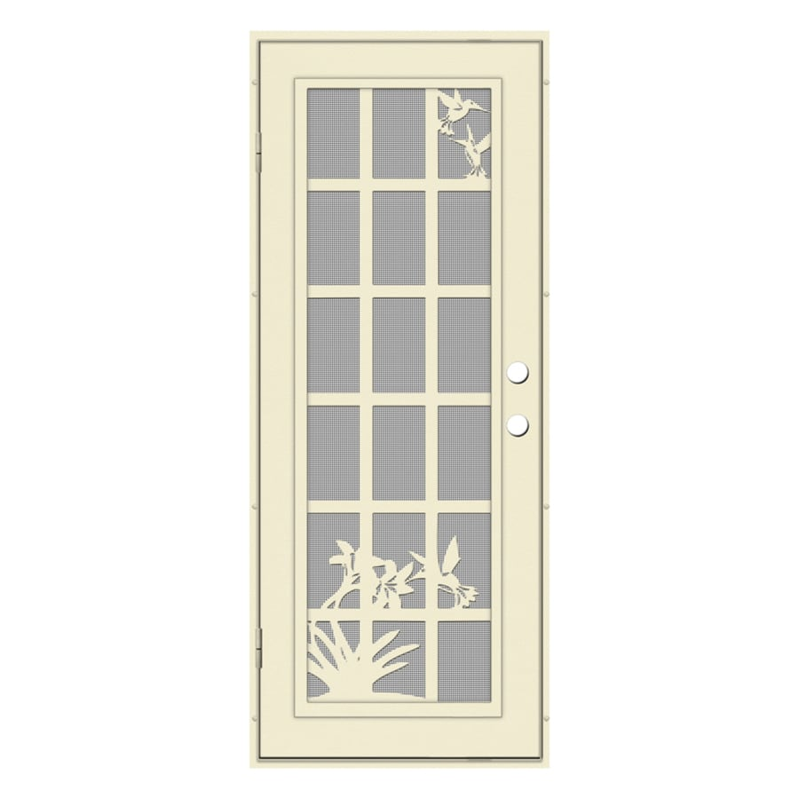 TITAN French Hummingbird Powder-Coat Beige Hammer Aluminum Surface Mount Single Security Door (Common: 32-in x 80-in; Actual: 34.5-in x 81.563-in)