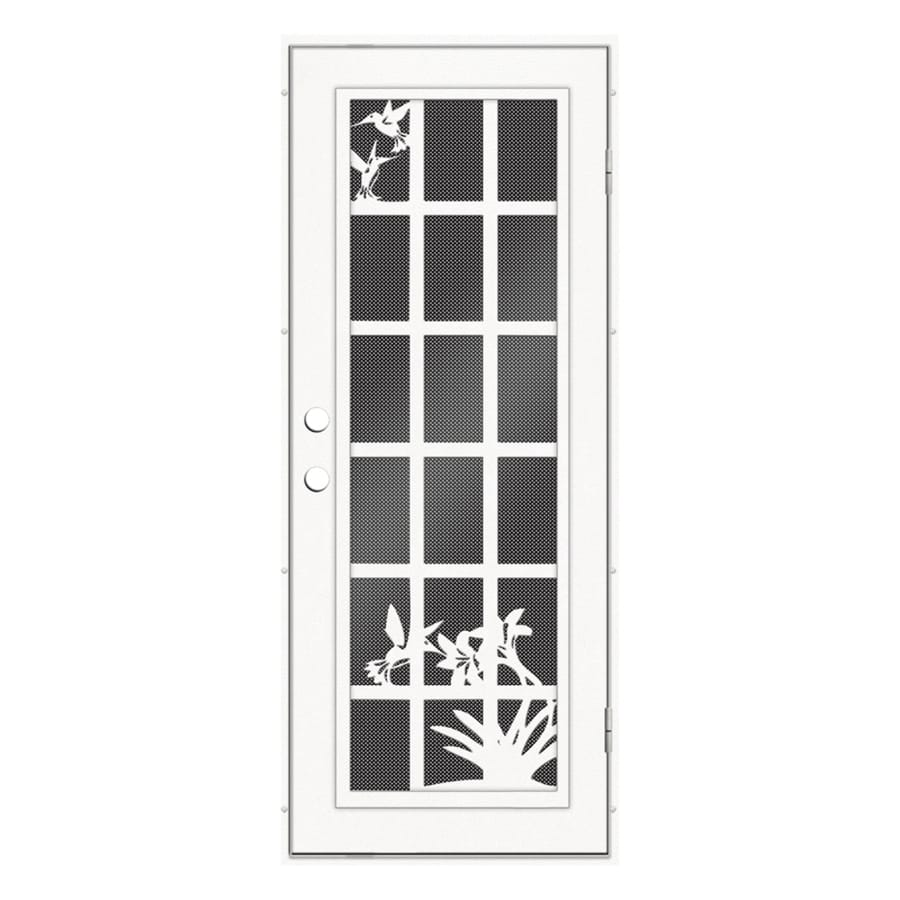 TITAN French Hummingbird Powder Coat White Aluminum Surface Mount Single Security Door (Common: 32-in x 80-in; Actual: 34.5-in x 81.563-in)