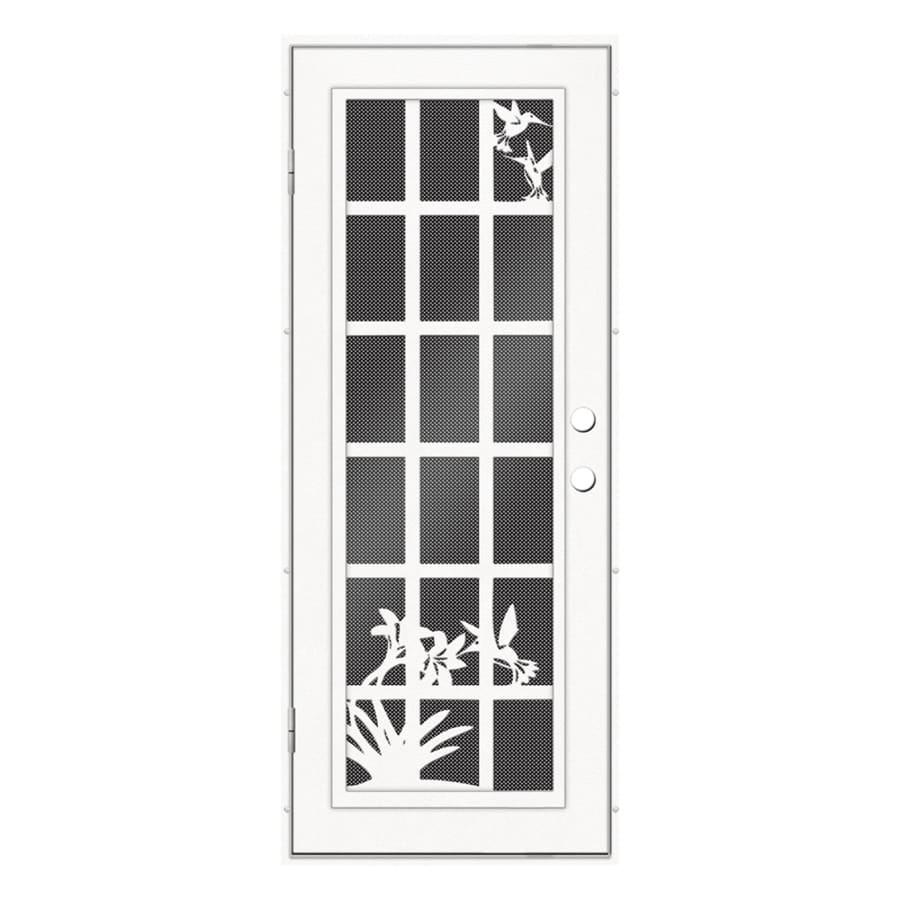 TITAN French Hummingbird Powder-Coat White Aluminum Recessed Mount Single Security Door (Common: 32-in x 80-in; Actual: 33.5-in x 81.563-in)