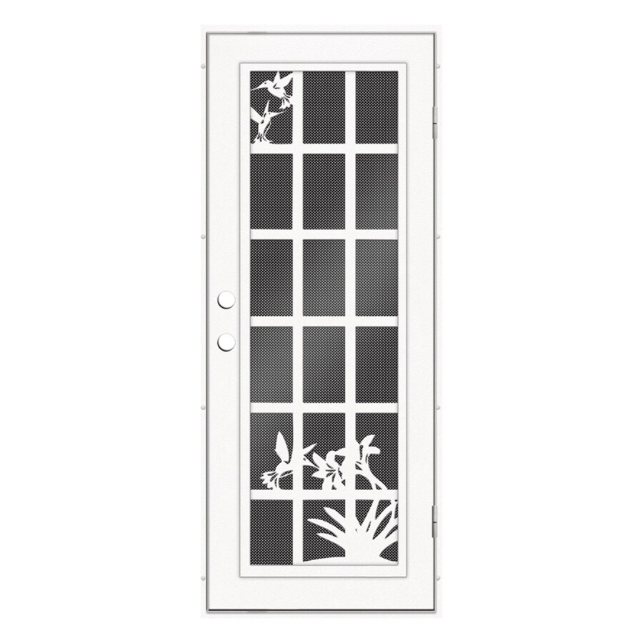 TITAN French Hummingbird Powder-Coat White Aluminum Recessed Mount Single Security Door (Common: 32-in x 80-in; Actual: 33.5-in x 81.563-in)