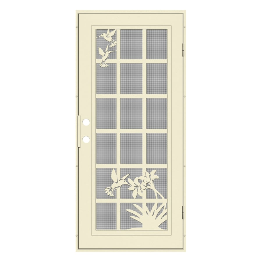 TITAN French Hummingbird Powder-Coat Beige Hammer Aluminum Surface Mount Single Security Door (Common: 36-in x 80-in; Actual: 38.5-in x 81.563-in)