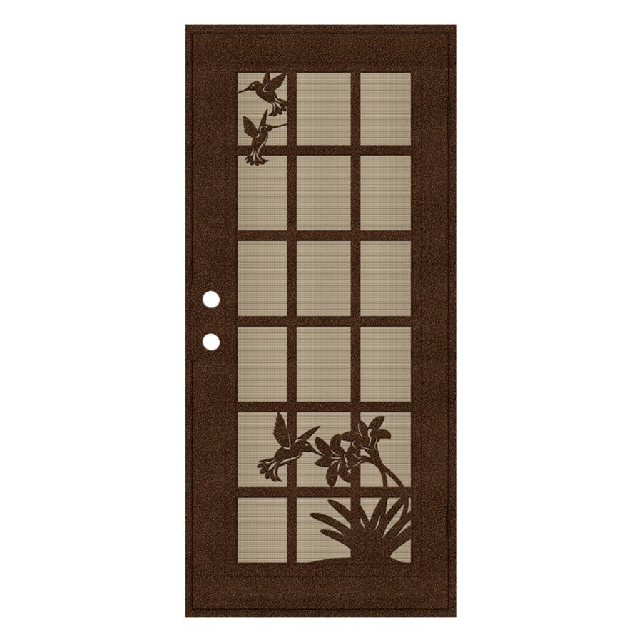 TITAN French Hummingbird Powder-Coat Copperclad Aluminum Surface Mount Single Security Door (Common: 36-in x 80-in; Actual: 38.5-in x 81.563-in)
