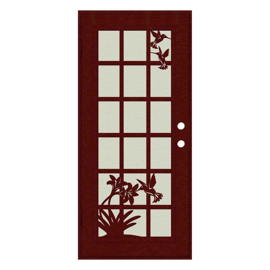 TITAN French Hummingbird Powder-Coat Wineberry Aluminum Surface Mount Single Security Door (Common: 36-in x 80-in; Actual: 38.5-in x 81.563-in)