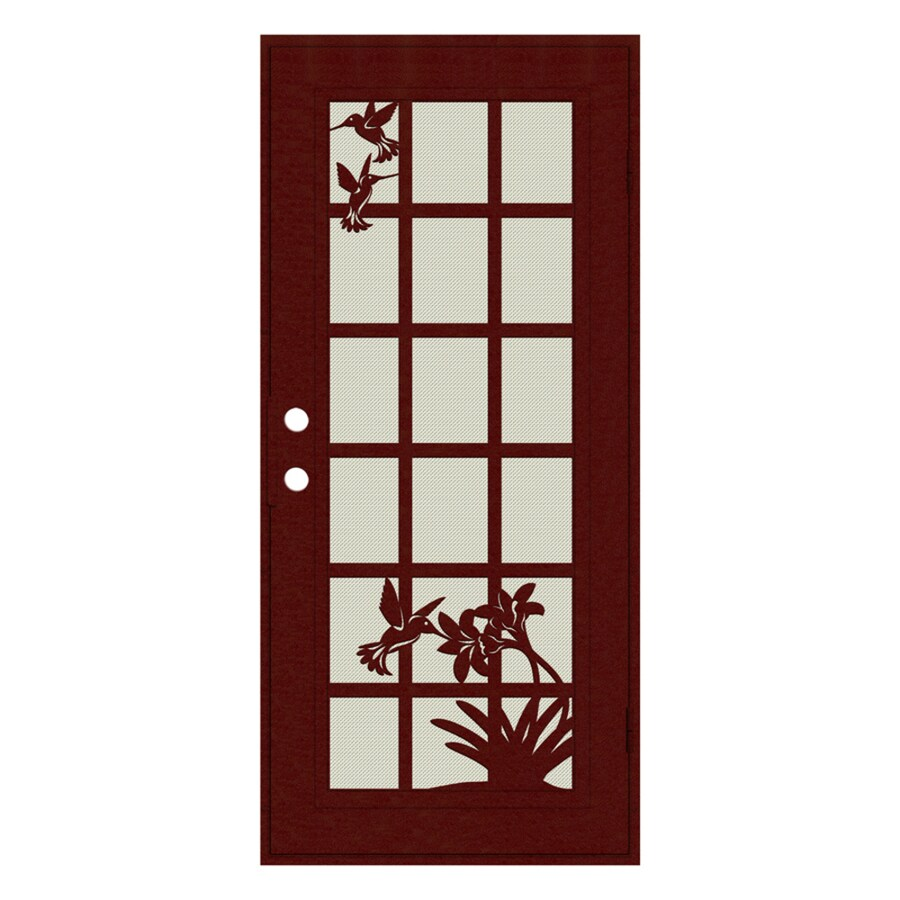 TITAN French Hummingbird Powder Coat Wineberry Aluminum Surface Mount Single Security Door (Common: 36-in x 80-in; Actual: 38.5-in x 81.563-in)