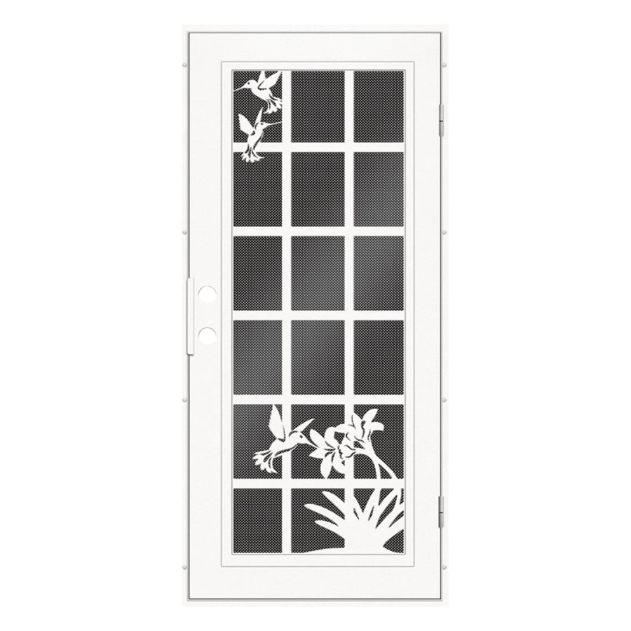 TITAN French Hummingbird Powder Coat White Aluminum Surface Mount Single Security Door (Common: 36-in x 80-in; Actual: 38.5-in x 81.563-in)