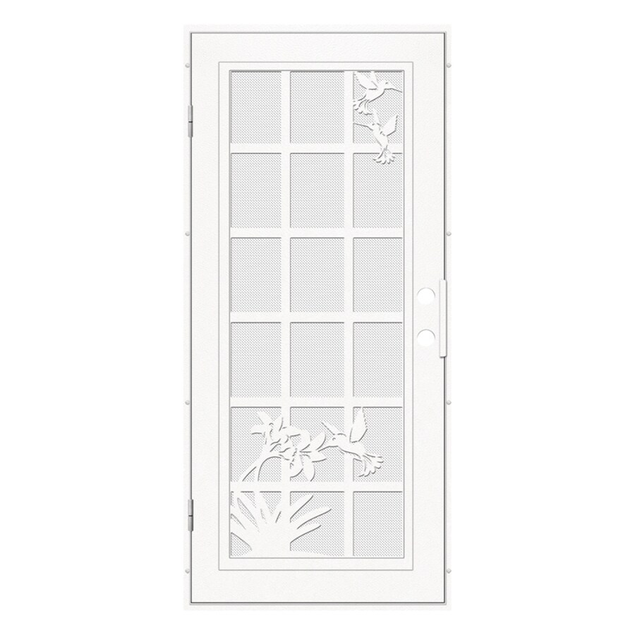 TITAN French Hummingbird Powder-Coat White Aluminum Surface Mount Single Security Door (Common: 36-in x 80-in; Actual: 38.5-in x 81.563-in)