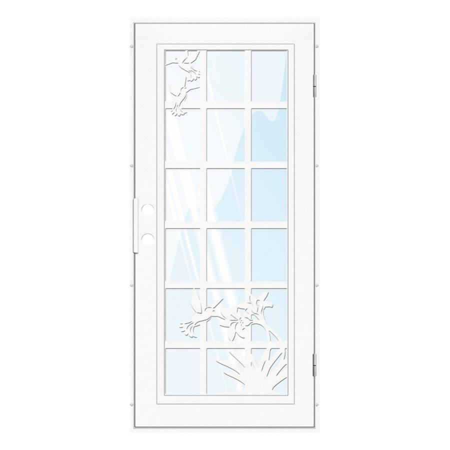 TITAN French Hummingbird Powder-Coat White Aluminum Recessed Mount Single Security Door (Common: 36-in x 80-in; Actual: 37.5-in x 81.563-in)