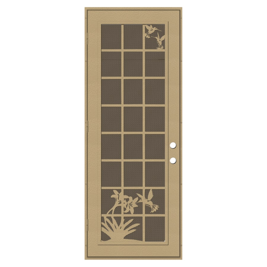 TITAN French Hummingbird Powder-Coat Desert Sand Aluminum Surface Mount Single Security Door (Common: 36-in x 96-in; Actual: 38.5-in x 97.563-in)