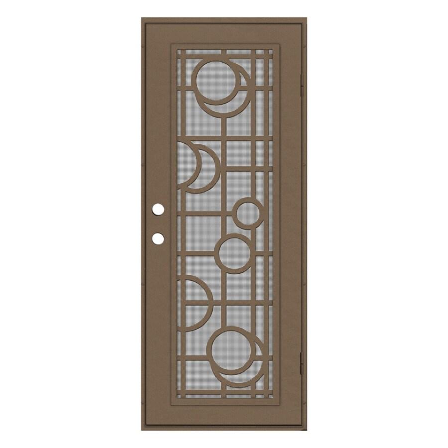 TITAN Martini Powder-Coat Terra Beige Aluminum Surface Mount Single Security Door (Common: 30-in x 80-in; Actual: 32.5-in x 81.563-in)