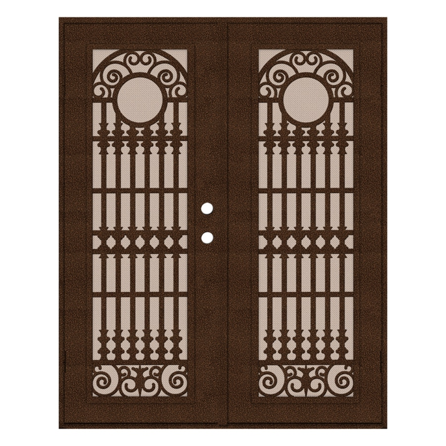 TITAN Spaniard Powder Coat Copperclad Aluminum Surface Mount Double Security Door (Common: 60-in x 80-in; Actual: 62.5-in x 81.5-in)
