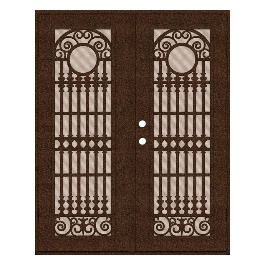 TITAN Spaniard Powder-Coat Copperclad Aluminum Surface Mount Double Security Door (Common: 60-in x 80-in; Actual: 62.5-in x 81.5-in)