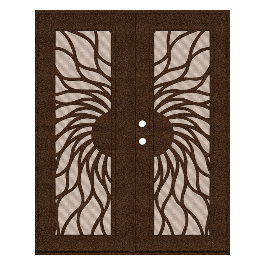 TITAN Sunfire Powder-Coat Copperclad Aluminum Surface Mount Double Security Door (Common: 60-in x 80-in; Actual: 62.5-in x 81.563-in)