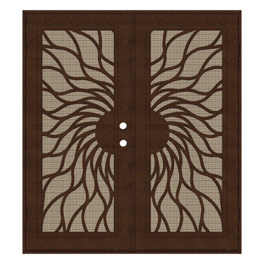 TITAN Sunfire Powder-Coat Copperclad Aluminum Surface Mount Double Security Door (Common: 72-in x 80-in; Actual: 74.5-in x 81.563-in)