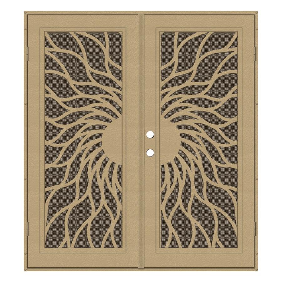 TITAN Sunfire Powder Coat Desert Sand Aluminum Surface Mount Double Security Door (Common: 72-in x 80-in; Actual: 74.5-in x 81.563-in)