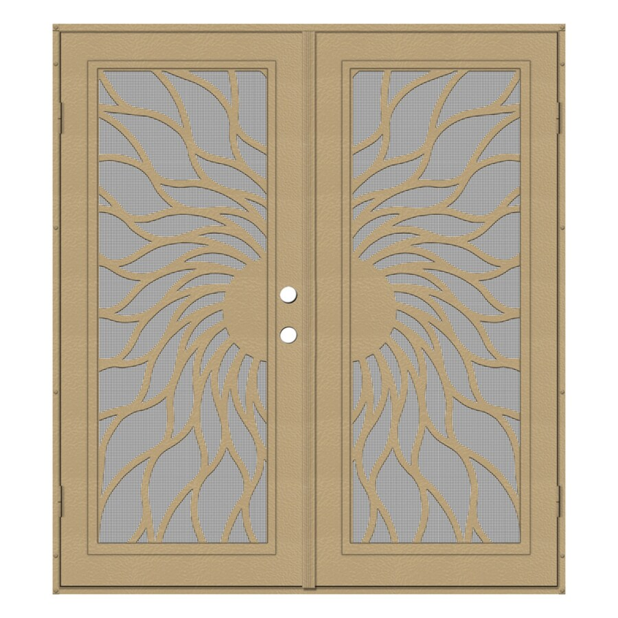 TITAN Sunfire Powder Coat Desert Sand Aluminum Surface Mount Double Security Door (Common: 72-in x 80-in; Actual: 74.5-in x 81.563-in)