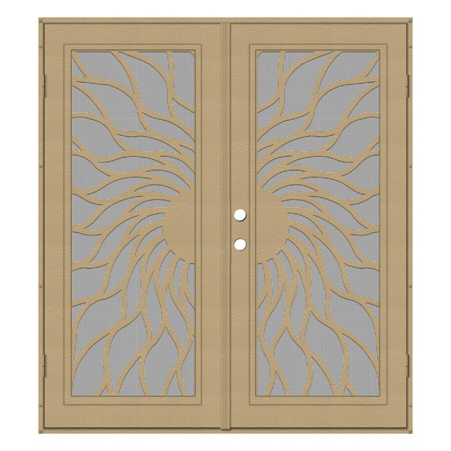 TITAN Sunfire Powder-Coat Desert Sand Aluminum Surface Mount Double Security Door (Common: 72-in x 80-in; Actual: 74.5-in x 81.563-in)