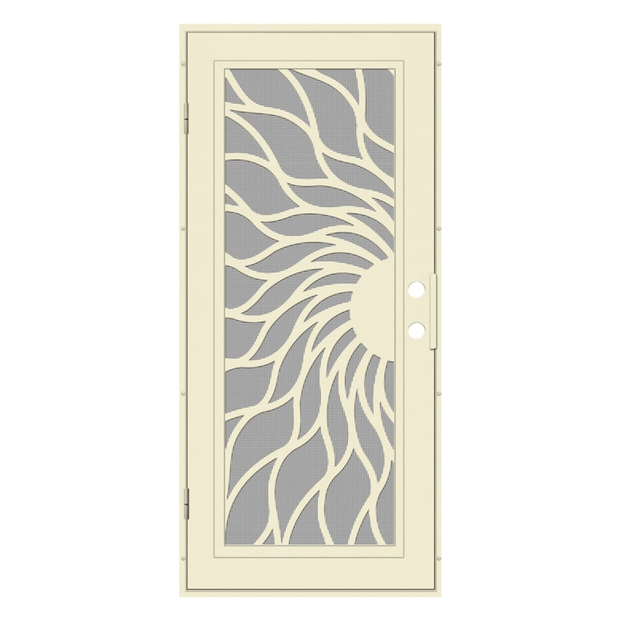 TITAN Sunfire Powder Coat Beige Hammer Aluminum Surface Mount Single Security Door (Common: 36-in x 80-in; Actual: 38.5-in x 81.563-in)