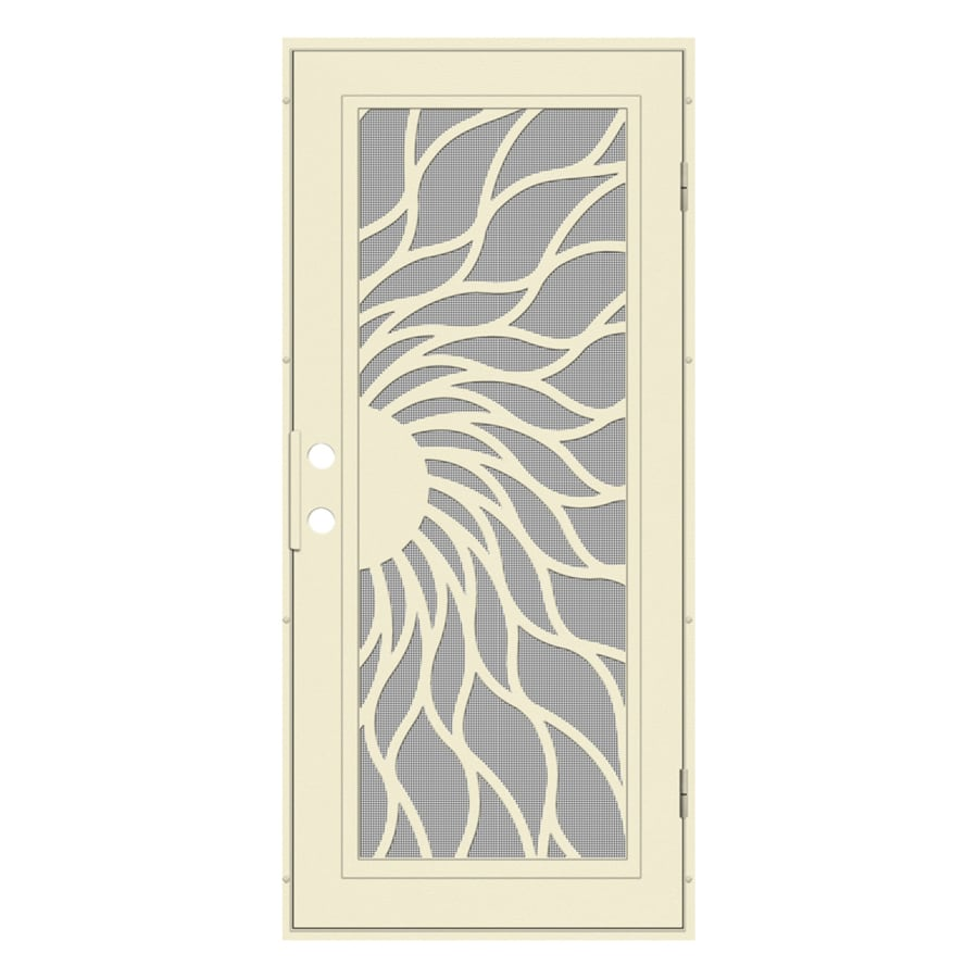 TITAN Sunfire Powder-Coat Beige Hammer Aluminum Surface Mount Single Security Door (Common: 36-in x 80-in; Actual: 38.5-in x 81.563-in)