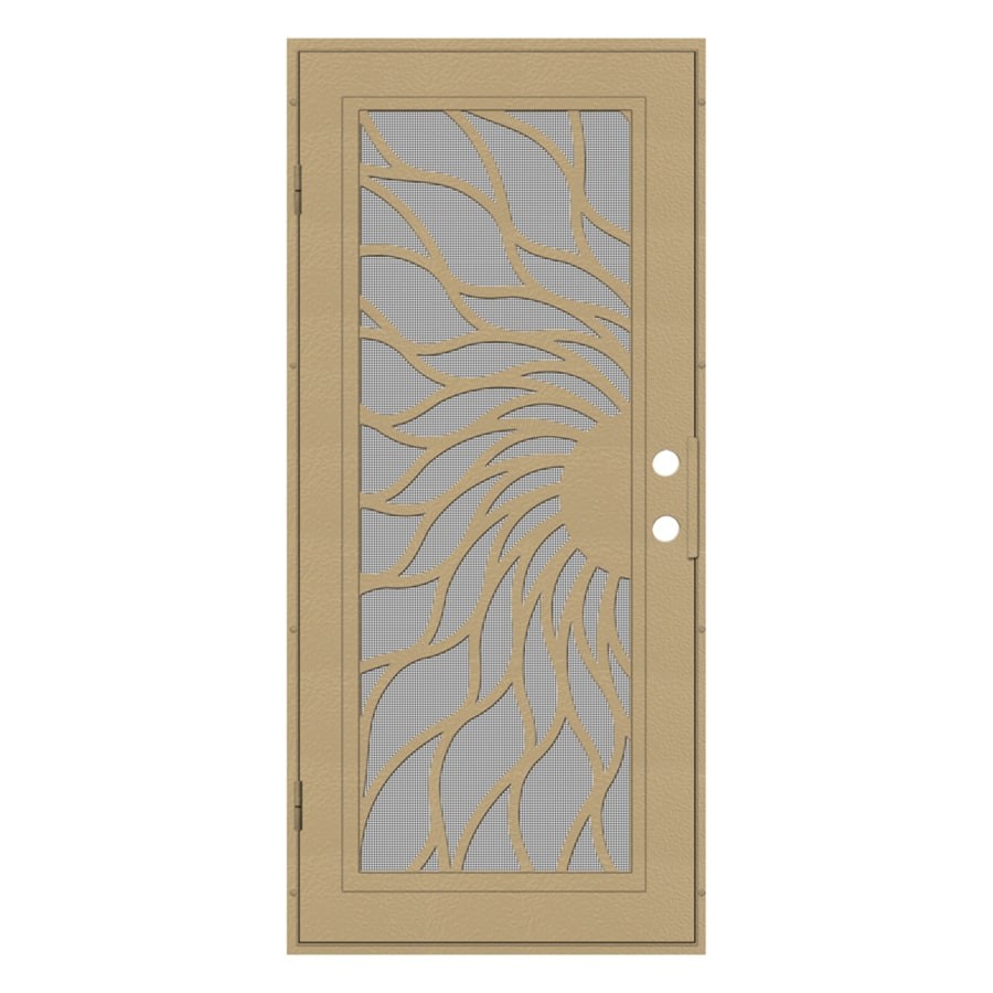 TITAN Sunfire Powder-Coat Desert Sand Aluminum Surface Mount Single Security Door (Common: 36-in x 80-in; Actual: 38.5-in x 81.563-in)