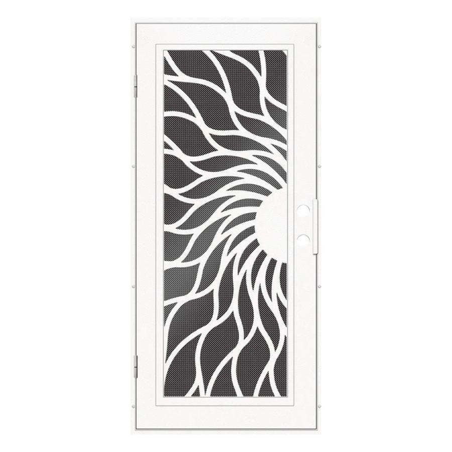 TITAN Sunfire Powder-Coat White Aluminum Surface Mount Single Security Door (Common: 36-in x 80-in; Actual: 38.5-in x 81.563-in)
