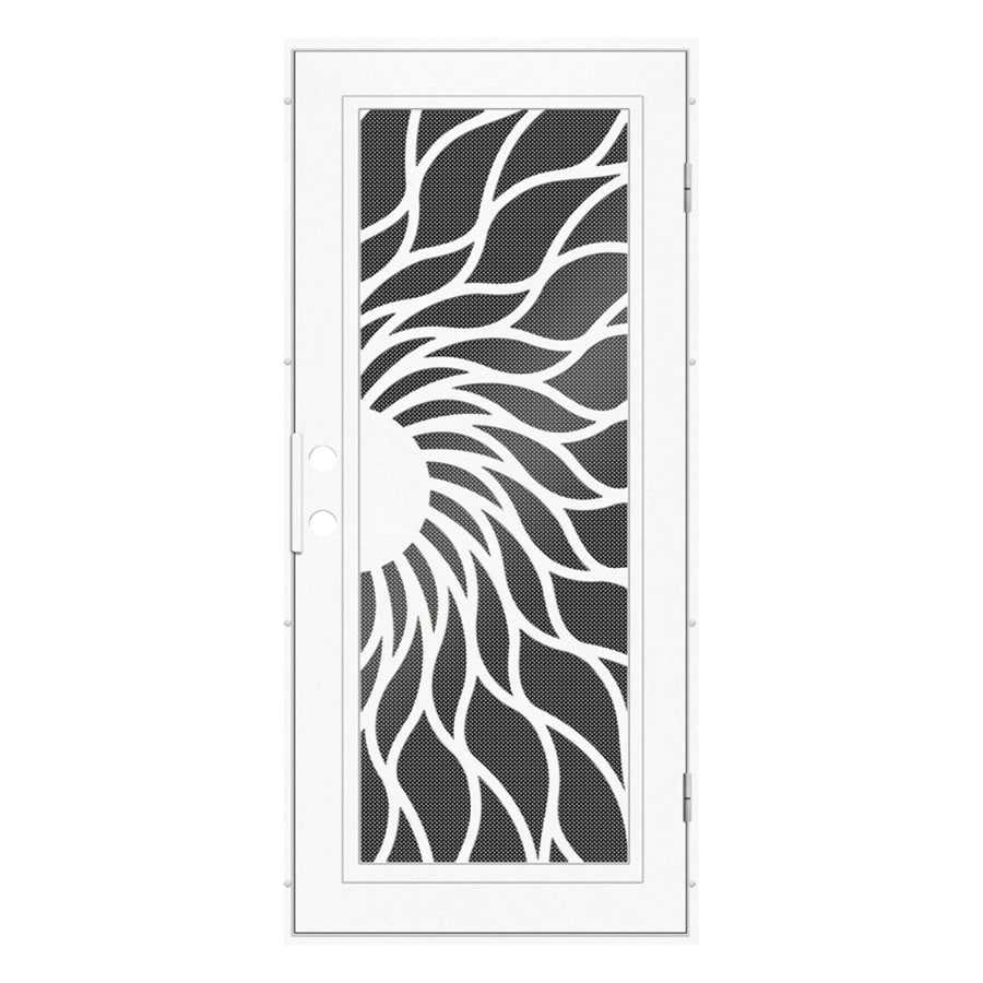 TITAN Sunfire Powder-Coat White Aluminum Surface Mount Single Security Door (Common: 36-in x 80-in; Actual: 38.5-in x 81.563-in)