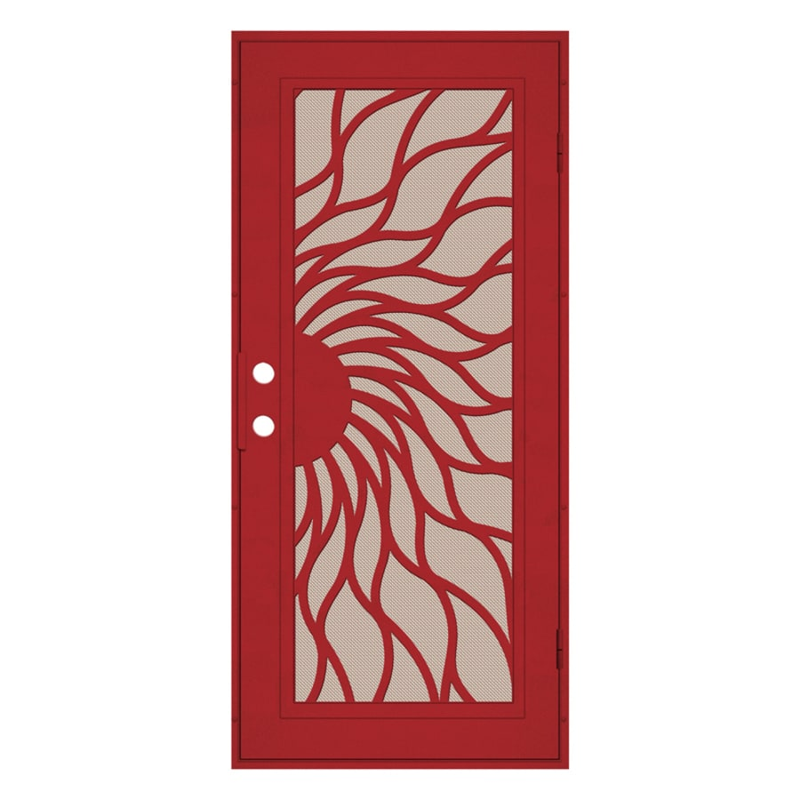 TITAN Sunfire Powder-Coat Red Hammertone Aluminum Recessed Mount Single Security Door (Common: 36-in x 80-in; Actual: 37.5-in x 81.563-in)