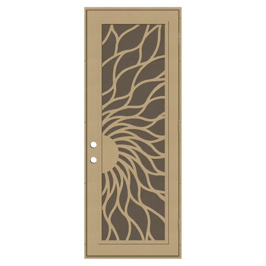 TITAN Sunfire Powder-Coat Desert Sand Aluminum Surface Mount Single Security Door (Common: 36-in x 96-in; Actual: 38.5-in x 97.563-in)