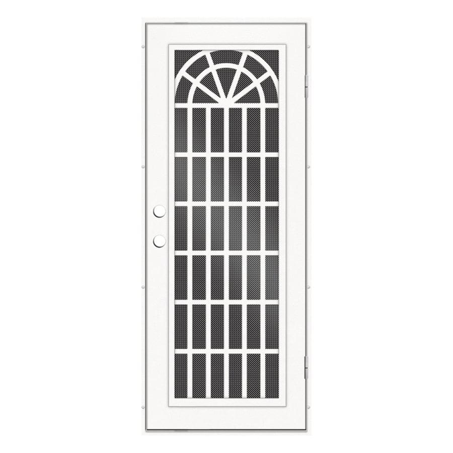 TITAN Trellis Powder-Coat White Aluminum Surface Mount Single Security Door (Common: 32-in x 80-in; Actual: 34.5-in x 81.563-in)