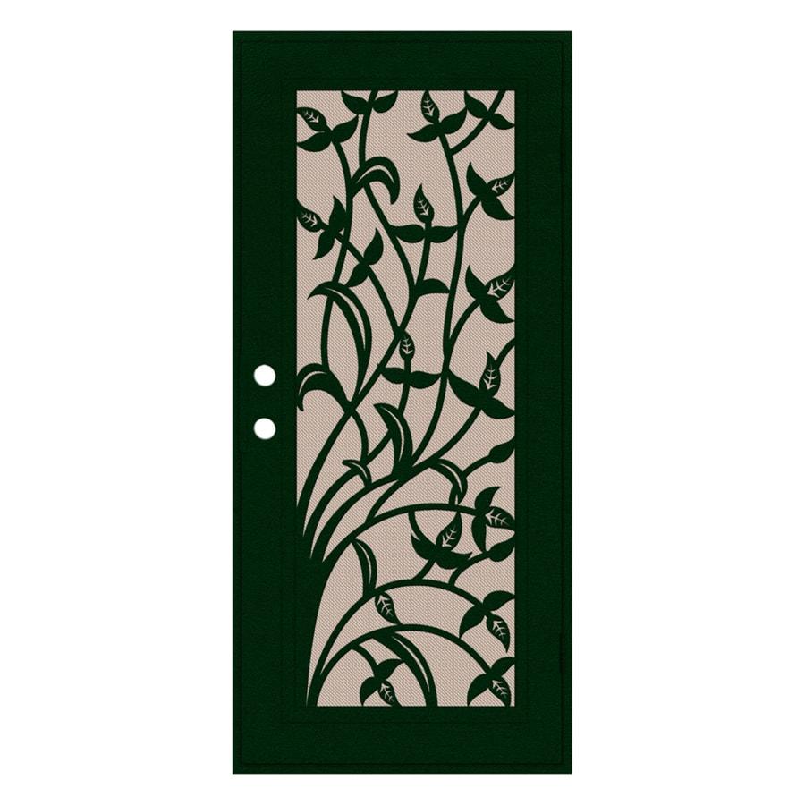 TITAN Yale Powder-Coat Forest Green Aluminum Recessed Mount Single Security Door (Common: 36-in x 80-in; Actual: 37.5-in x 81.563-in)