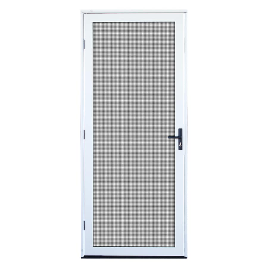TITAN Meshtec White Aluminum Recessed Mount Single Security Door (Common: 32-in x 80-in; Actual: 34-in x 82-in)