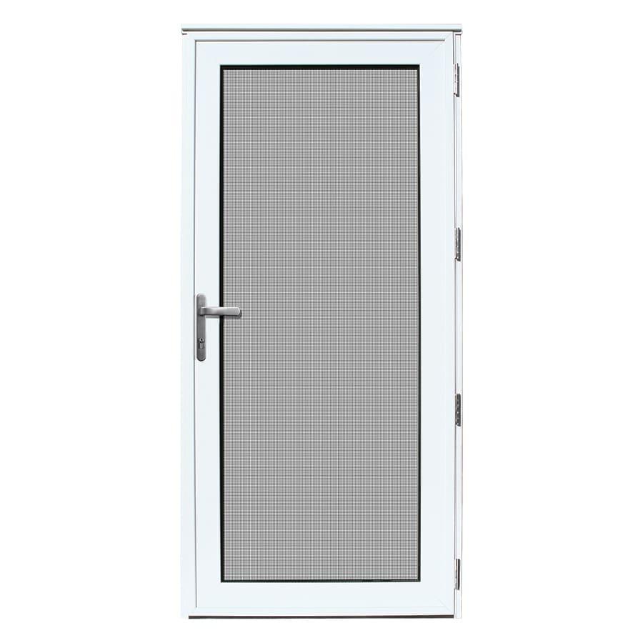 TITAN Meshtec Storm Door White Aluminum Recessed Mount Single Security Door (Common: 32-in x 80-in; Actual: 34.11-in x 82.2-in)