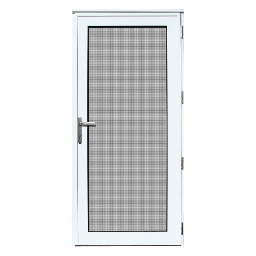 TITAN Meshtec Storm Door White Aluminum Recessed Mount Single Security Door (Common: 36-in x 80-in; Actual: 38.11-in x 82.2-in)