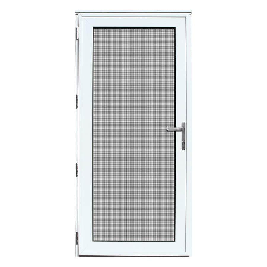 Lowe S Security Storm Doors : Shop titan meshtec white aluminum recessed mount single