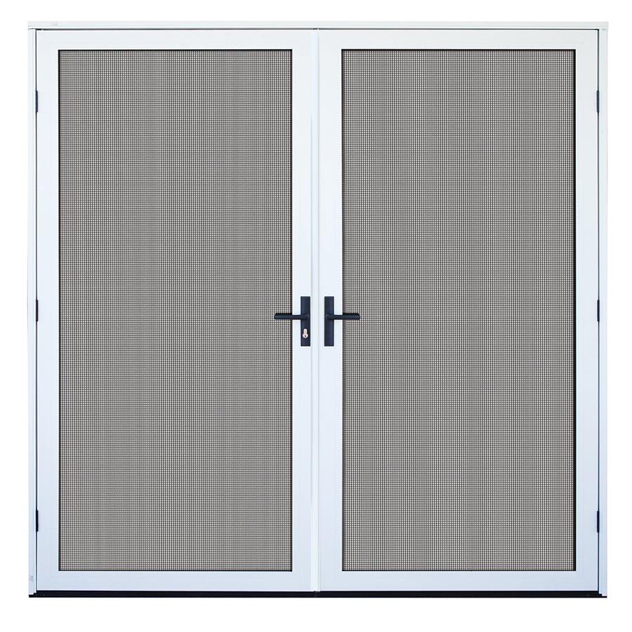 TITAN Meshtec White Aluminum Surface Mount Double Security Door (Common: 72-in x 80-in; Actual: 75.673-in x 81-in)