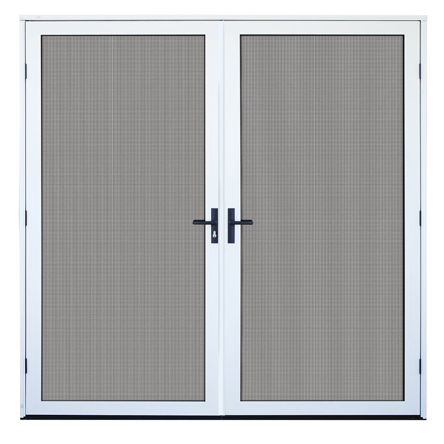 TITAN Meshtec White Aluminum Recessed Mount Double Security Door (Common: 72-in x 80-in; Actual: 73.75-in x 82-in)