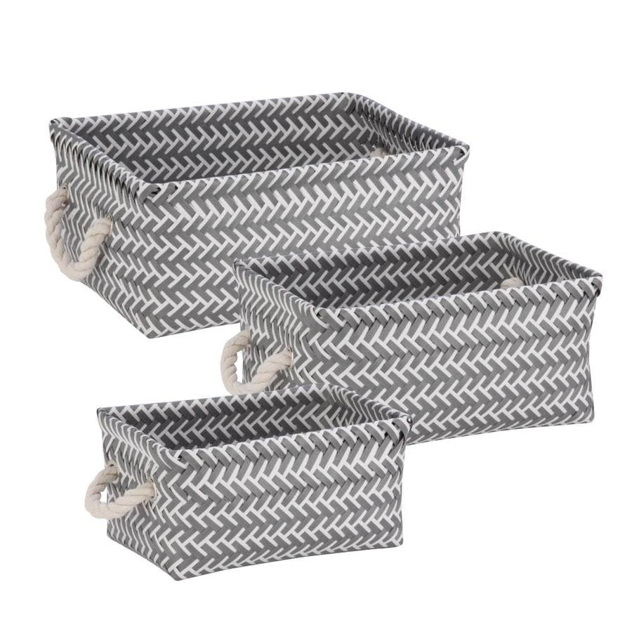 Honey-Can-Do 3-Pack Zig zag set 13-in W x 6-in H x 10-in D Gray Plastic Basket