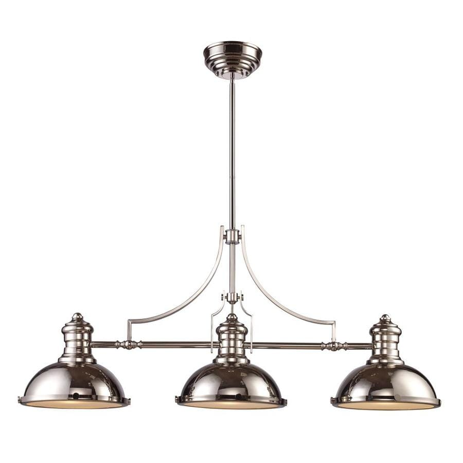 Westmore Lighting Chiserley 13-in W 3-Light Polished Nickel Kitchen Island Light with Frosted Shade