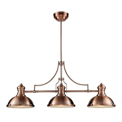 Chiserley Antique Copper Kitchen Island Light Casual Transitional Pendant Light