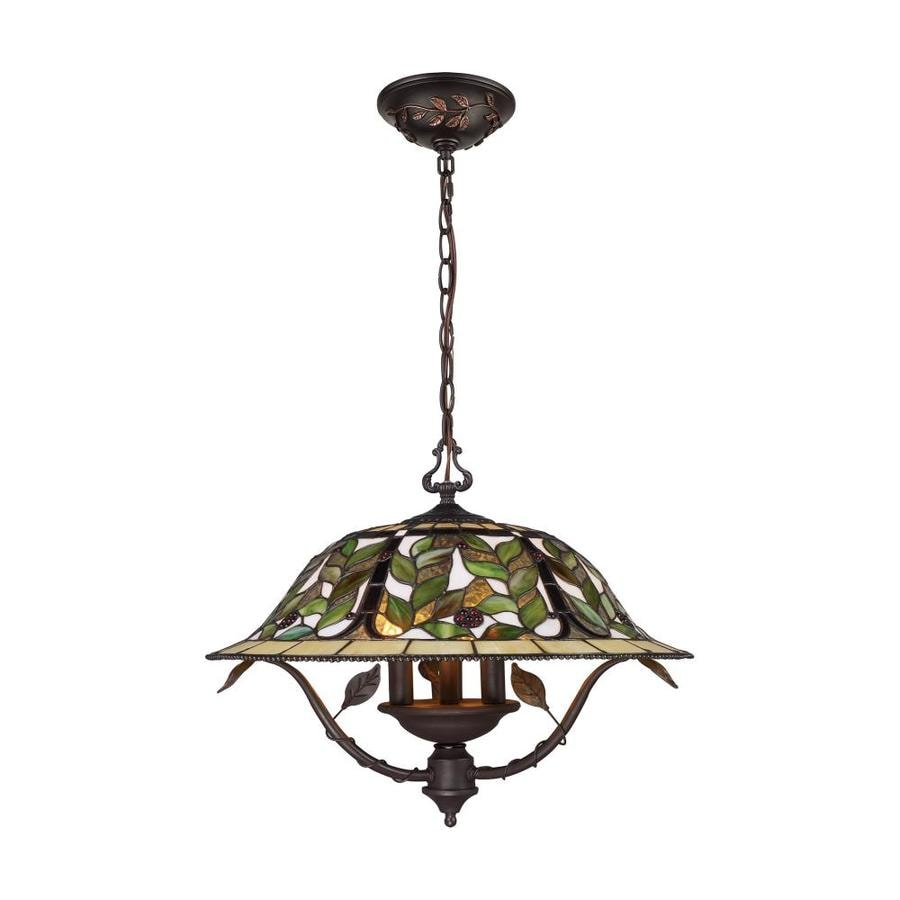 Westmore Lighting Gamma 21-in 3-Light Tiffany Bronze Tiffany-style Stained Glass Shaded Chandelier