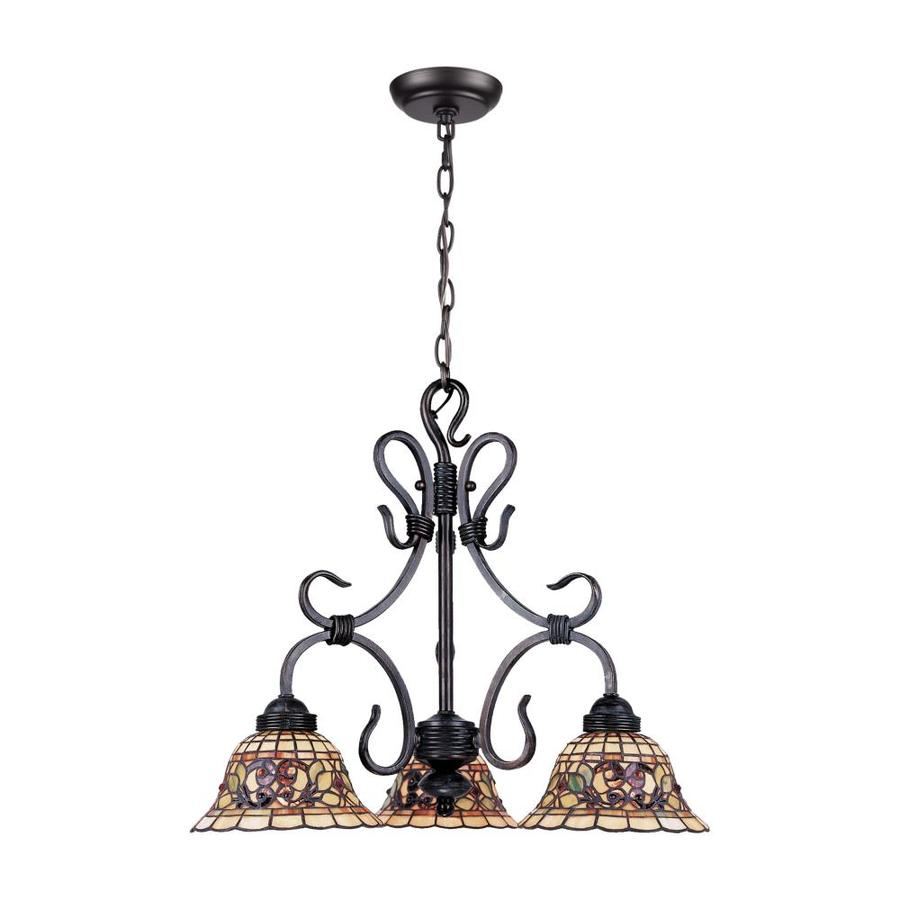 Westmore Lighting Saint Augustine 21-in 3-Light Vintage Antique Tiffany-Style Stained Glass Shaded Chandelier