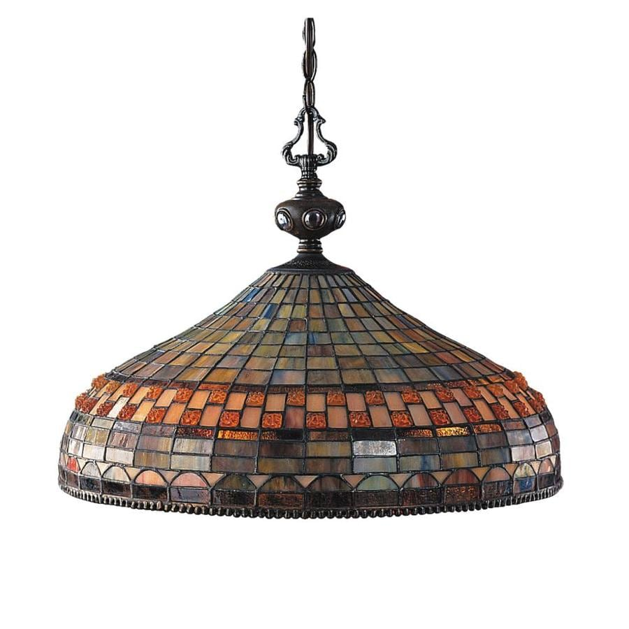 Westmore Lighting Sargon 20-in 3-Light Classic Bronze Tiffany-style Stained Glass Shaded Chandelier