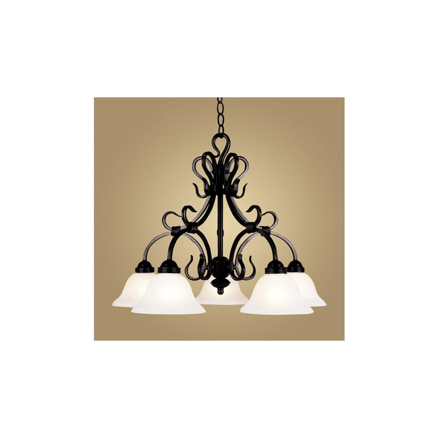 Westmore Lighting Cottier 26-in 5-Light Matte Black Shaded Chandelier