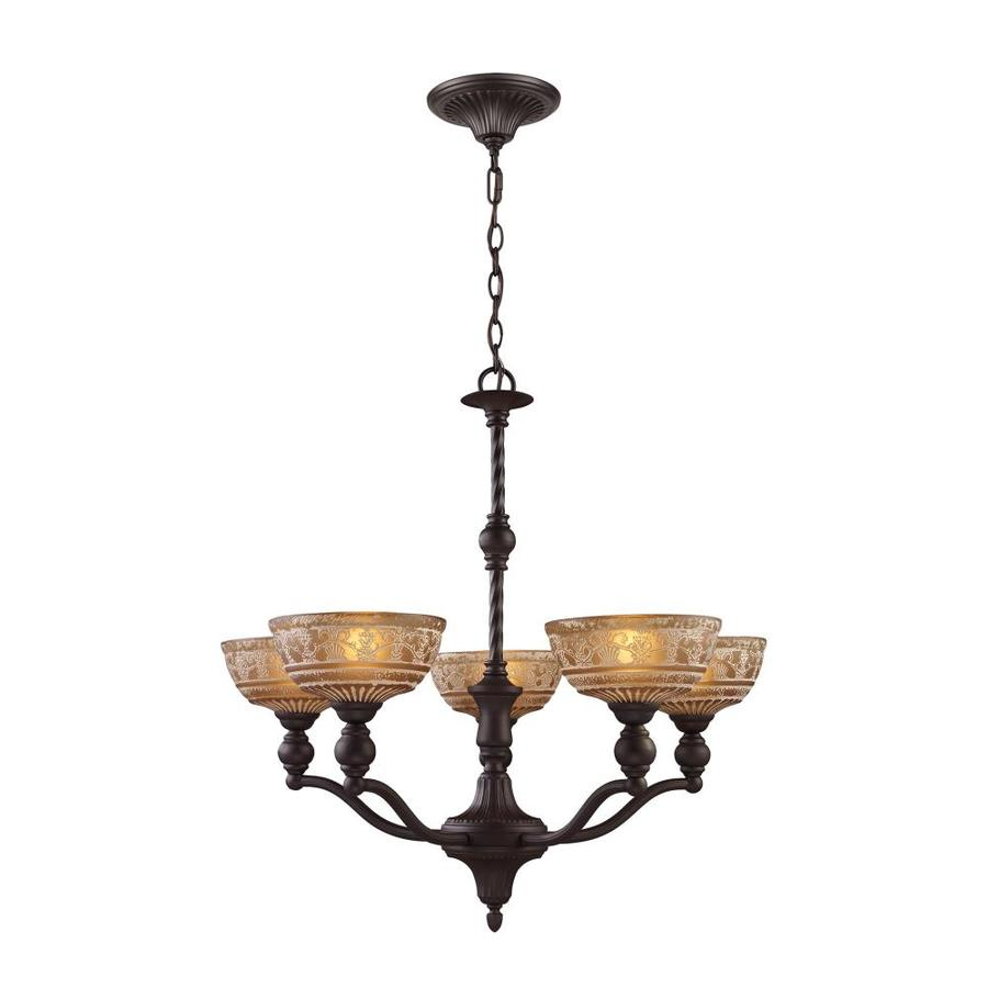 Westmore Lighting Norfolk 28-in 5-Light Oil-Rubbed Bronze Tinted Glass Shaded Chandelier
