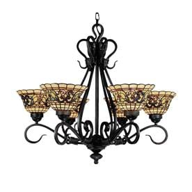 Shop chandeliers at lowes westmore lighting saint augustine 28 in 6 light vintage antique tiffany style stained mozeypictures Image collections