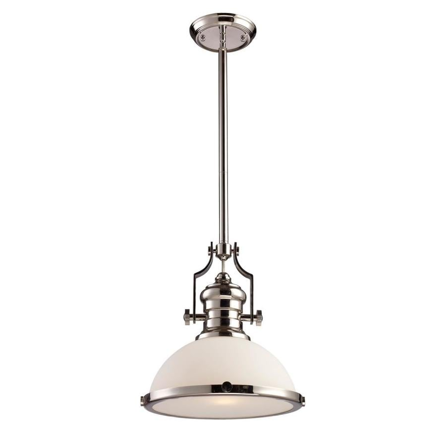 Westmore Lighting Chiserley 13-in Polished Nickel Industrial Single Tinted Glass Dome Pendant