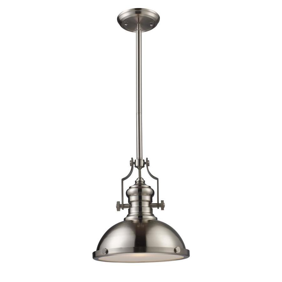 Westmore Lighting Chiserley 13-in Satin Nickel Industrial Single Dome Pendant