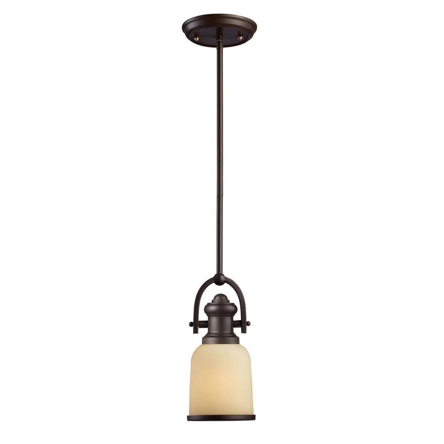 Westmore Lighting Crocker 5-in Oiled Bronze Industrial Single Tinted Glass Cylinder Pendant