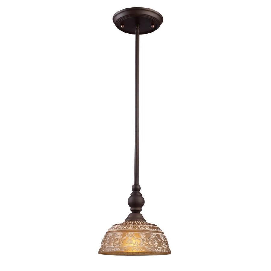 Westmore Lighting Norfolk 8-in Oiled Bronze Rustic Mini Tinted Glass Dome Pendant