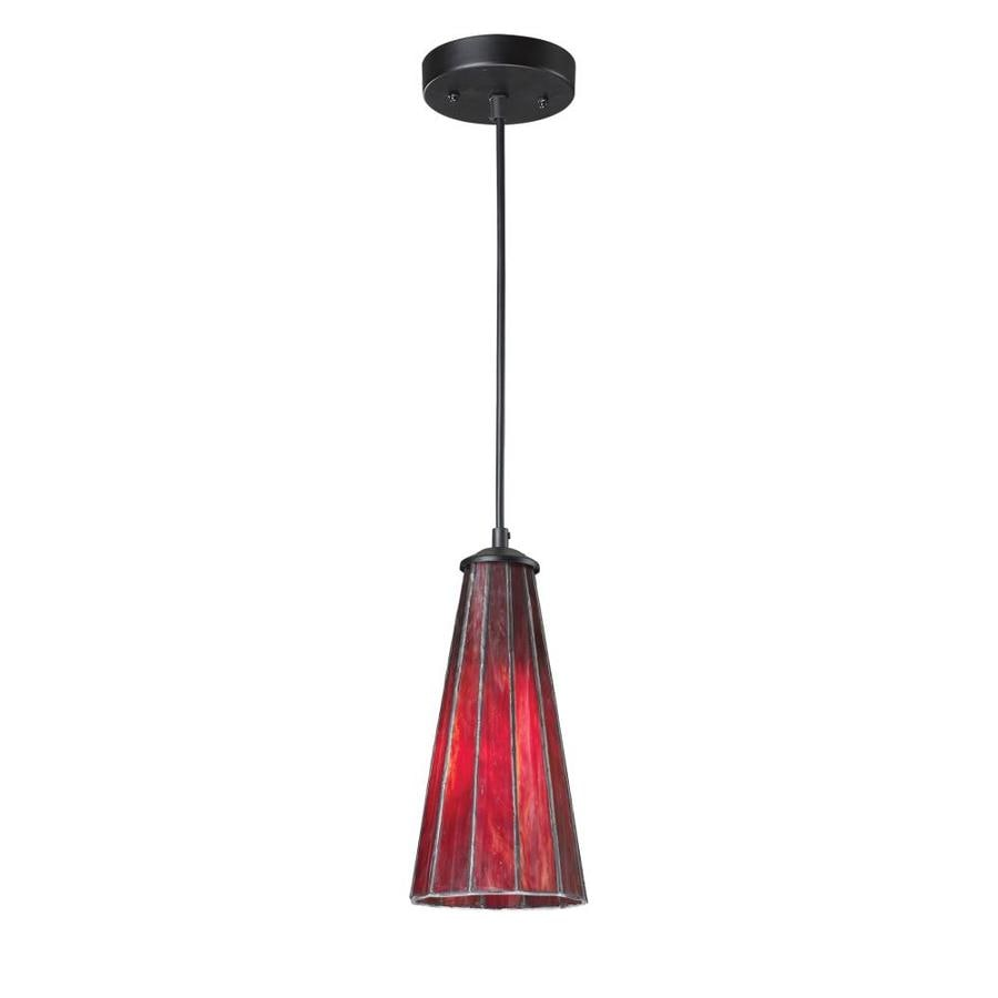 Westmore Lighting Pisa 5-in Inferno Red/Matte Black Craftsman Single Stained Glass Cone Pendant