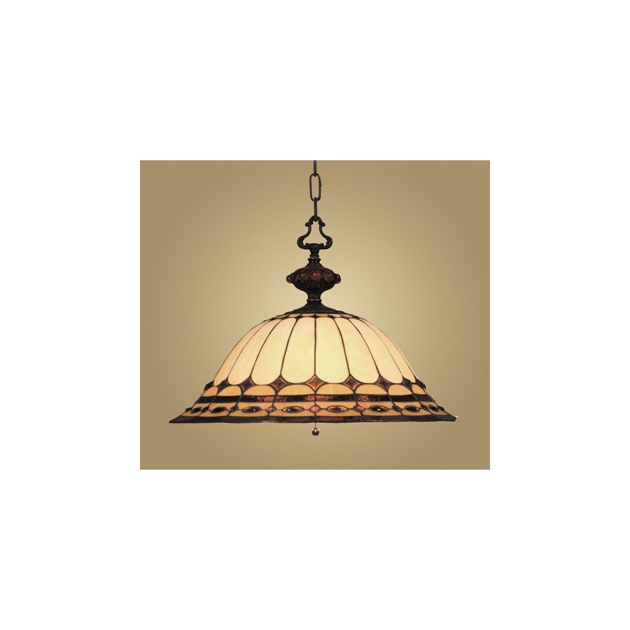 Westmore Lighting Savile 20-in Burnished Copper Tiffany-Style Single Stained Glass Bowl Pendant